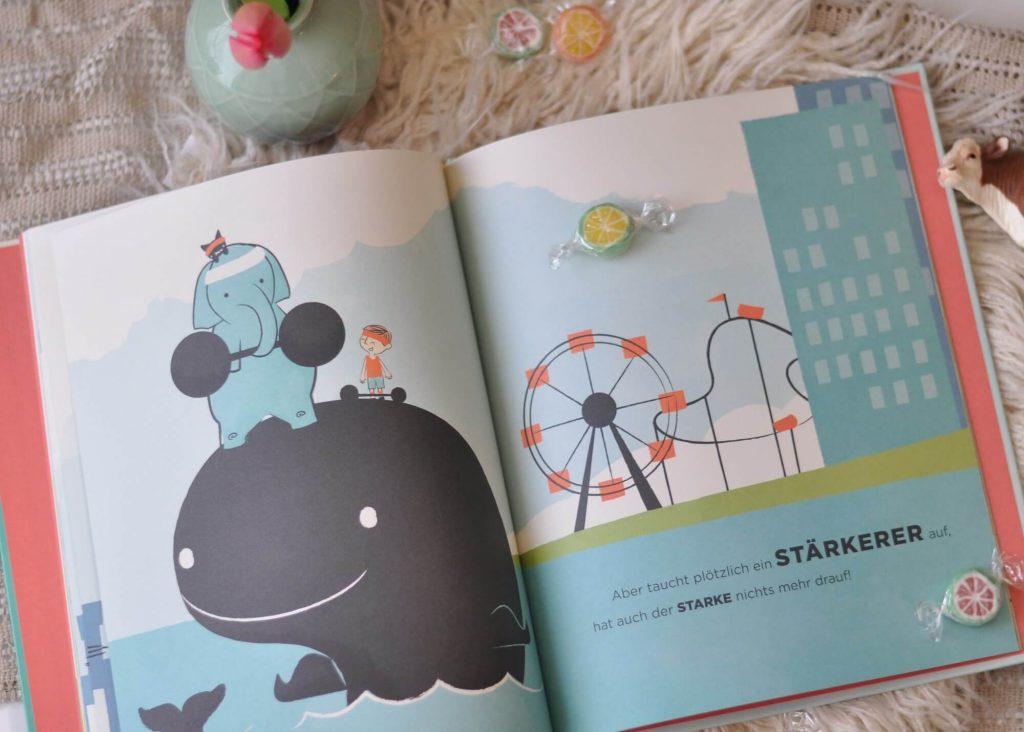 Bilderbuch ab 4 Jahren mit Retro-Illustrationen: Schau genau! führt uns in die Welt der Gegensätze und zeigt, dass der erste Eindruck nicht immer stimmt.  #gegensätze #elefant #retro #kinderbuch #bilderbuch #reime
