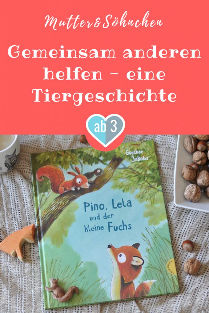 Sollte man jemanden helfen, auch wenn man sich dbei selbst in Gefahr bringt? Indem Pino und Lela die anderen Tiere um Hilfe bitten, können alle zusammen dem kleinen Fuchs nach Hause helfen. Ein Bilderbuch ab 3 Jahren. #Fuchs #Wald #Helfen #Kindergarten #Bilderbuch #Kinderbuch #Lesen