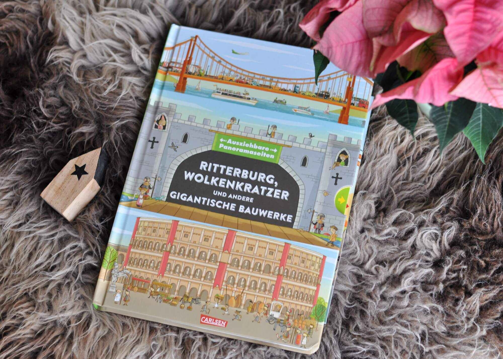Fünf Bauwerke zum Entdecken: Wie sah es in einem französischen Schloss aus? Wie in einem römischen Amphitheater oder in einer mittelalterlichen Burg? Was verbirgt sich hinter den einzelnen Stockwerken des riesigen Wolkenkratzers? Und wie funktioniert eine Hängebrücke? #burg #ritter #palast #gebäude #bilderbuch #klappen #architektur #sachbuch #kinder #lesen #wimmelbuch