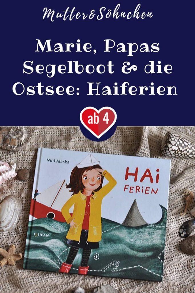 Marie liebt Haie. Jeden Tag malt sie welche und sie kennt sich auch schon richtig gut aus. Mit ihrem Papa, darf sie in den Maiferien mit einem großen, roten Segelboot in Ostsee stechen. Aber gibt es in der Ostsee überhaupt Haie? #hai #papa #ostsee #ferien #meer #bilderbuch #vorlesen