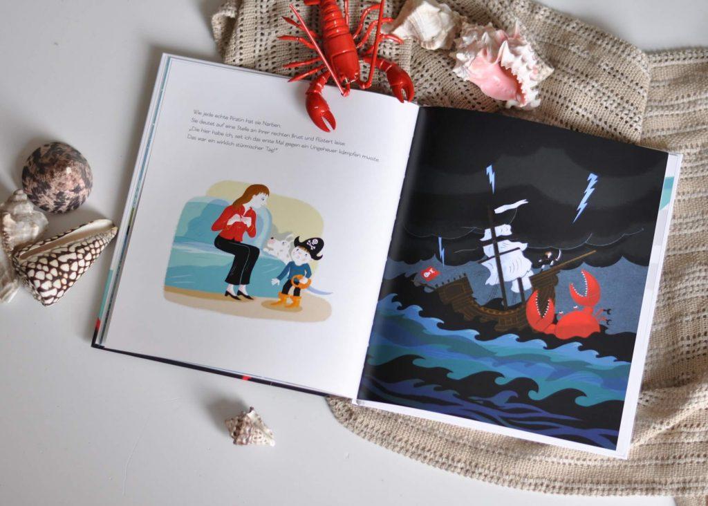 """Eine krebskranke Mutter wird hier als mutige Piratin dargestellt. Einmal pro Woche begibt sie sich auf das Schiff """"Wagemut"""", um mit erfahrenen Seefahrern nach der Schatzinsel Ausschau zu halten. Auf dem Weg dorthin muss sie jedoch allerhand Ungeheuer bekämpfen. #krebs #krank #lesen #bilderbuch #kinder #vorlesen #pirat #krankheit"""