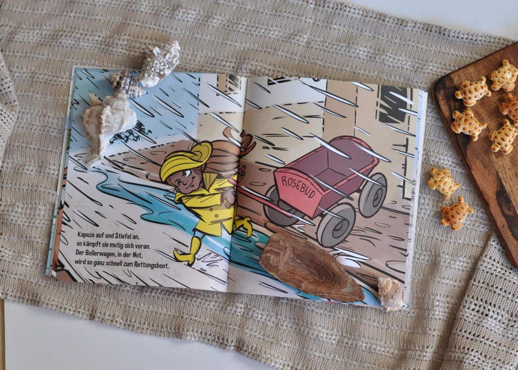 Warum sollte man Menschen helfen, die in Seenot geraten sind? In Käpt*in Rakete werden Kinder mit auf eine abenteuerliche Rettungsmission genommen. Denn dummerweise tobt draußen ein Sturm, der schon die Hütte von Hund Bernhard weggeblasen hat. Und dann droht auch noch Teddy in der Regenrinne zu ertrinken.  #seenot #flüchtlinge #comic #rettung #hilfe #kapitän #helfen #reime #bilderbuch