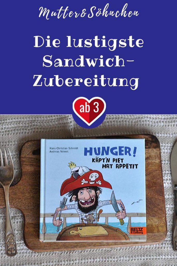 Käpt'n Piet hat Hunger - und zwar ziemlich großen. Dagegen hilft nur ein dick belegtes Brot. Deshalb legt Piet auch alles darauf, was er finden kann: Goudakäse und Mayonnaise, Zuckermais und Erdbeereis, Chicorée und Beuteltee, Pastinaken und Tiefeseekraken. Das Sandwich wächst und wächst. #hunger #bilderbuch #lesen #brot #sandwich #pirat #essen