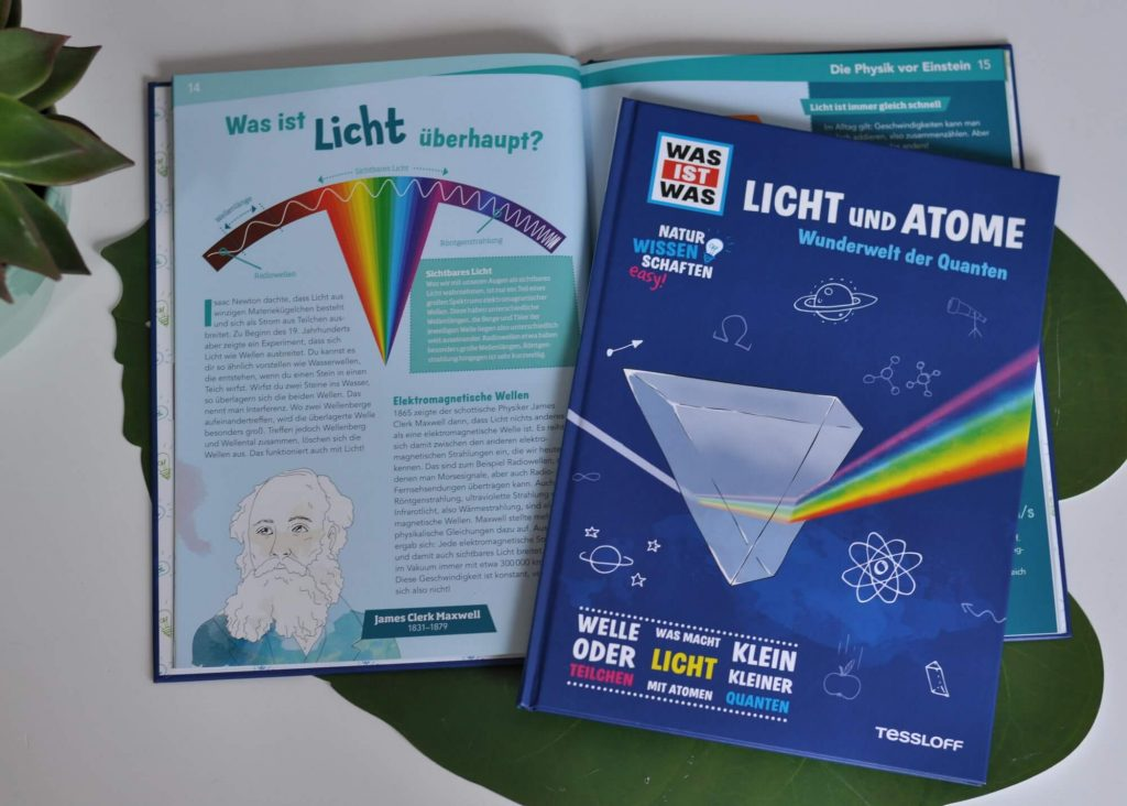 Was ist Licht und was sind Quanten? Woraus bestehen Atome? Und was hat es mit Elektromagnetismus auf sich? Dieses Physikbuch bringt Kindern die Welt der Moleküle, Atome und des Lichts spannend nahe.  #physik #quanten #sachbuch #kinder #lernen #schule #esen