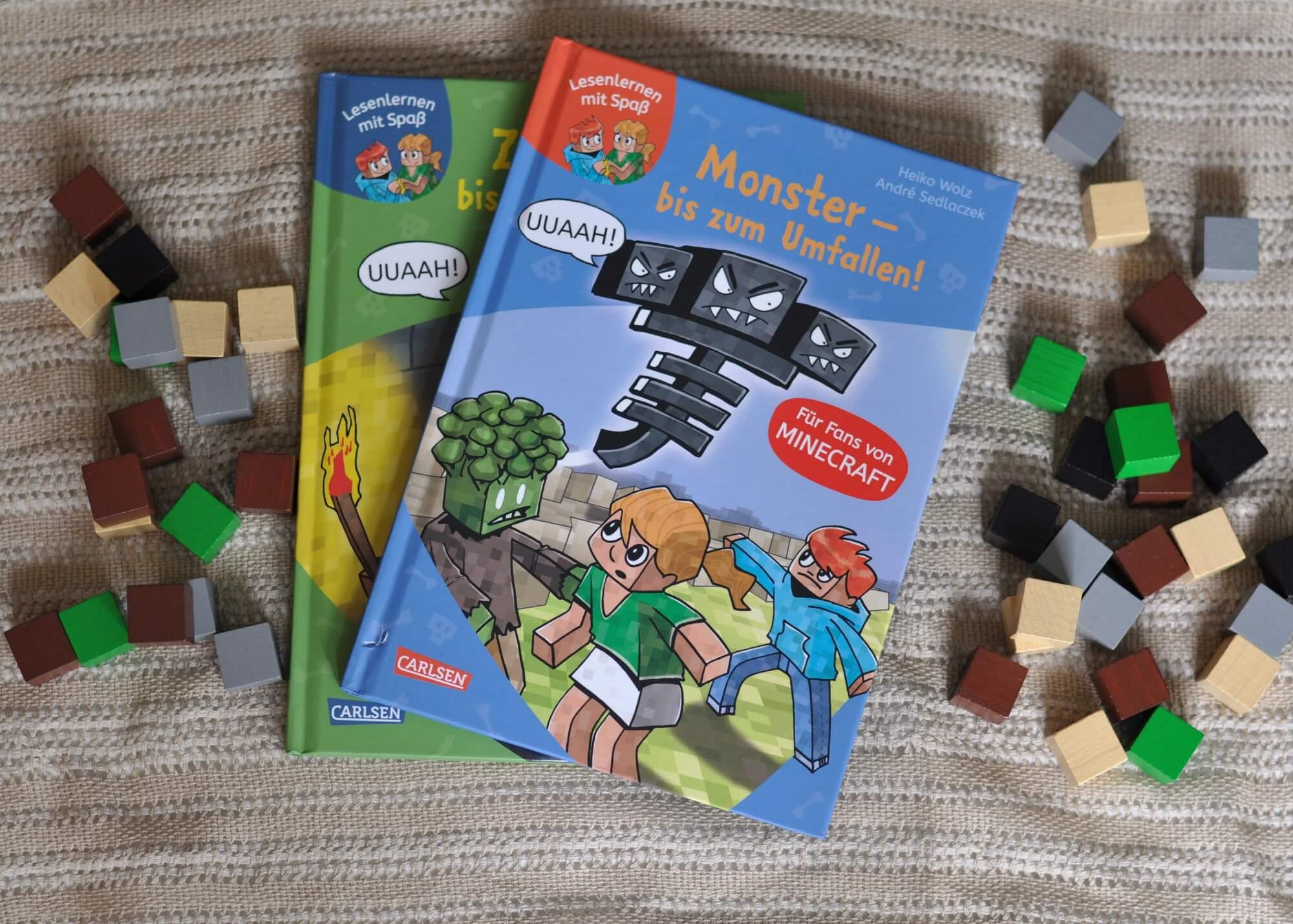 Endlich Minecraft-Bücher für jüngere Kids! Die Geschichten sind spannend, kommen aber mit kurzen Sätzen, einer großen Schrift und kurzen Kapiteln aus. Das Schriftbild ist locker gesetzt und mit großen Illustrationen versehen, so das die Lesestrecke gut überschaubar ist. #kinderbuch #lesen #lernen #minecraft #leseanfänger #erstleser #buch