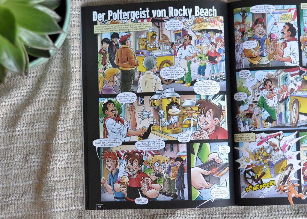 Der Wahnsinn tobt in Rocky Beach: Geheimnisvolle Fälscher treiben ihr Unwesen, ein Poltergeist versetzt die Einwohner in Angst und Schrecken und ein Dieb ärgert die Badegäste. Nur Justus, Peter und Bob können Licht ins Dunkel bringen! Hier werden 7 coole Cartoons mit spannenden Knobeleien kombiniert, die am Ende des Buches aufgelöst werden. #detektiv #diedrei #comic #cartoon #rätseln #lesen #kinderbuch #kinder