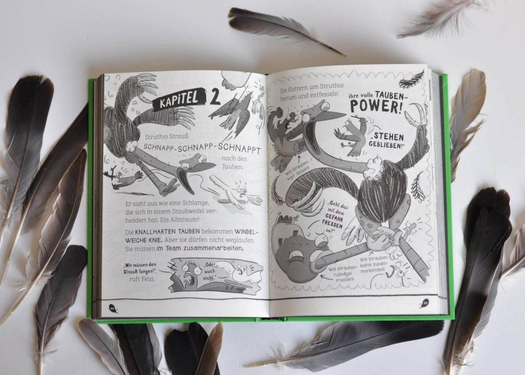 Felsi, Master Kropf, Bringer, Locka und Tümmel -  das sind die knallharten Tauben, die jedes Verbrechen aufklären. Und die Stadttauben sind auch beste Freunde. Doch als sie ein geheimes Lagerhaus voller gefangener Vögel entdecken, wird der Zusammenhalt auf eine harte Probe gestellt. Wer ist zu so einer Gemeinheit fähig? Bald sind die Tauben einem kriminellen Strauß und einem fiesen Ibis dicht auf den Fersen – äh, Krallen! Werden sie auch diesmal den Fall lösen können? #comic #tauben #lustig #leseanfänger #kinderbuch #illustration #detektive #verbrechen #abenteuerbuch #detektivbuch