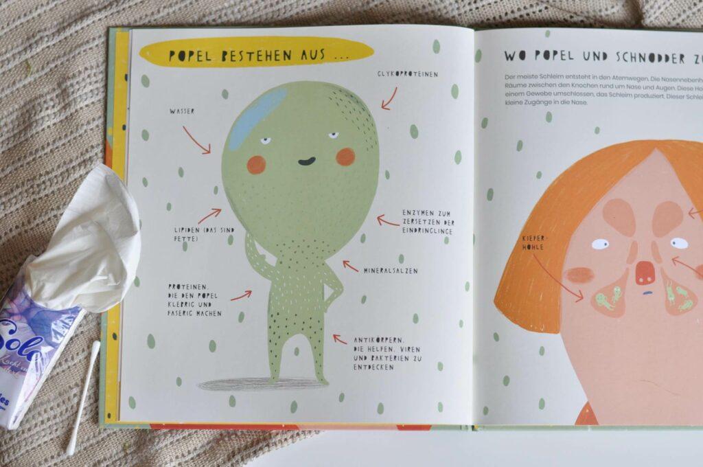 Für kleine Kinder ist der Körper faszinierend: Es knackt, pupst, blubbert und schnoddert. Allein in der Nase verbrigt sich eine kleine Wunderwelt. Wie aufregend! Dass wir es bei Popeln tatsächlich mit unerschrockenen Superhelden unseres Immunsystems zu tun haben, die uns vor Krankheiten schützen, weiß nicht jeder. Darum klärt dieses Sachbuch für Kinder über alles rund um den Nasenschleim auf: Woraus bestehen Popel und wo genau im Körper leben sie eigentlich? Was sagen sie uns über unseren Gesundheitszustand? Und welche Tiere popeln eigentlich auch so gerne? #sachbuch #sachbilderbuch #kidnerbuch #popel #nase #schleim #erkältung #krank #bilderbuch