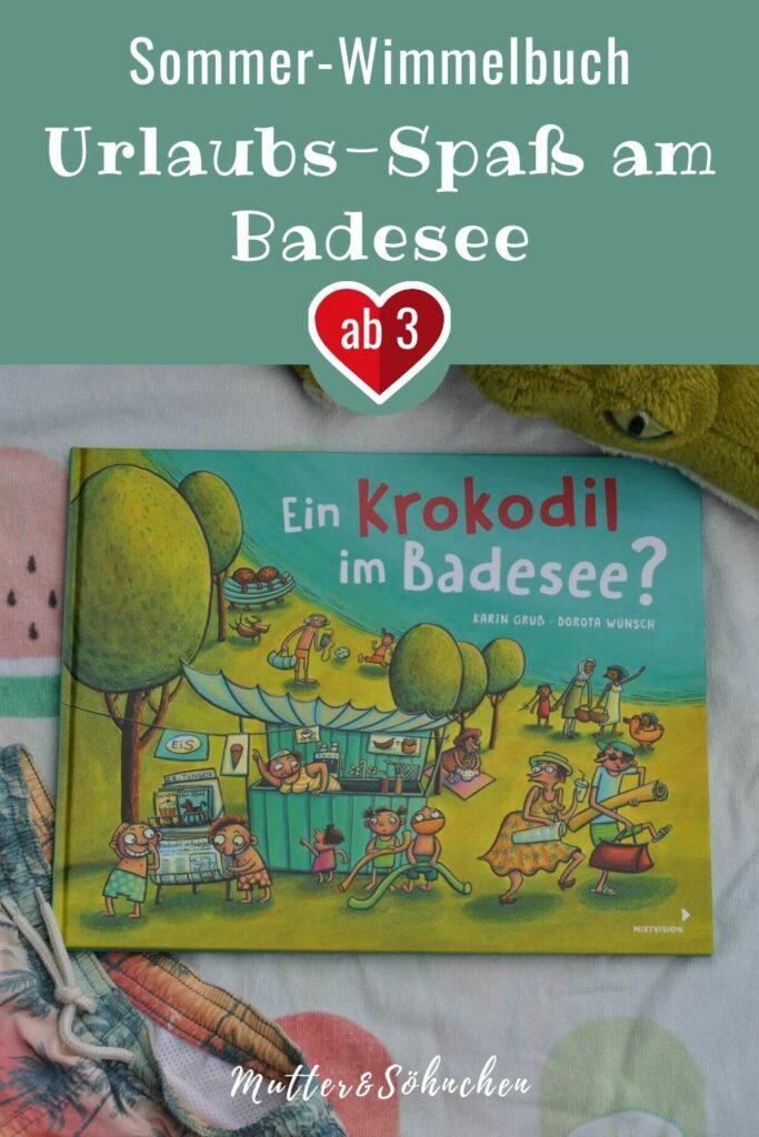 Mit Luftmatratze, Radio und Liegestuhl ausgerüstet, geht es zum Badesee. Aber was ist das? Kaum angekommen, verschwinden plötzlich Sonnenbrille, Badehose und mehr. Sven, der blonde Mann mit Badehose, Heribert mit Gummiboot und Malaika mit der Tasche sind sich einig: Ein mysteriöses Krokodil treibt sein Unwesen! Ein Sommer-Wimmelbuch für Kinder ab 3 Jahren. #kinderbuch #bilderbuch #badesee #rätsel #lesen #vorlesen #strand #sommer
