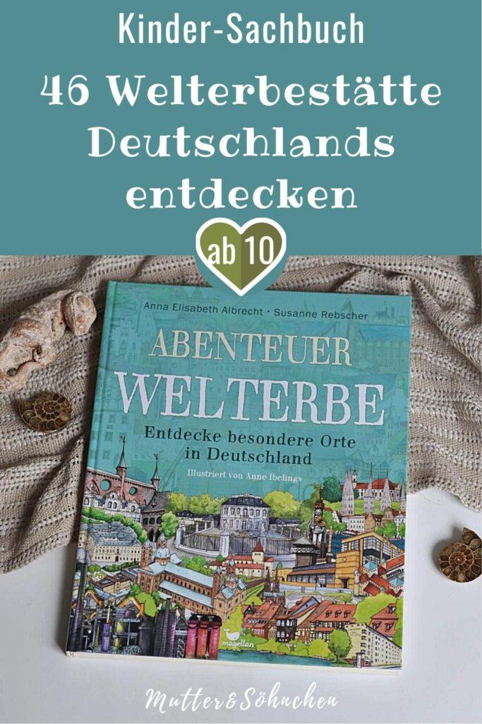 Das Wikinger-Dorf Haitabu, der römische Limes, oder die prähistorischen Pfalbauten auf der Schwäbischen Alp - vom Norden bis in den Süden gibt es Orte und Bauwerke in Deutschland zu entdecken, die auf der Welt einmalig sind. Ob eine Insel voller Schätze in Berlin, die Gebeine von drei sehr wichtigen Heiligen im Kölner Dom oder auch die Überreste von Urzeittieren in der Grube Messel – jede der 46 Stätten hat ihre ganz eigene Geschichte zu erzählen!  #sachbuch #sachwissen #deutschland #kinderbuch #sehenswürdigkeiten #urlaub #ferien #ausflug