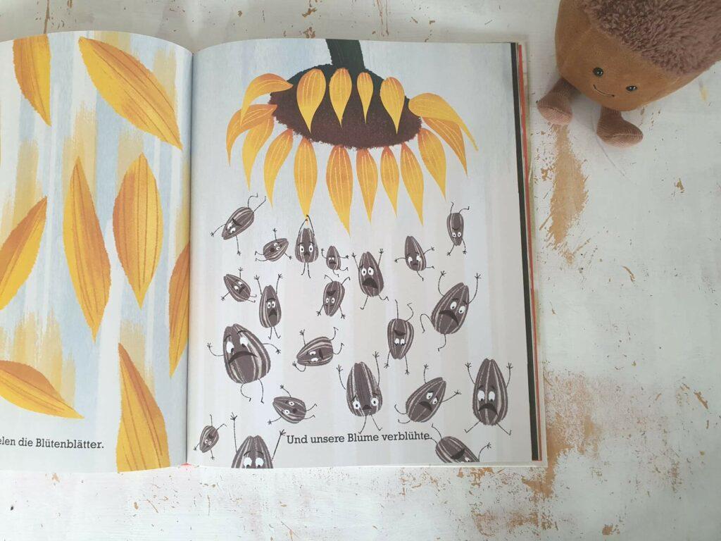 Dies ist ein Buch über einen bösen Sonnenblumen-Kern. Einen sehr böööööööösen Kern. Er hat schlechte Laune, schlechte Manieren und ihm ist alles schnurz-piep-egal. Alle anderen finden auch, dass er echt böse ist. Doch der Kern war nicht immer böse. Und irgendwann trifft der kleine Kern die Entscheidung, statt böse und gemein lieber glücklich zu sein! Eine lustige und zugleich berührende Geschichte, die zeigt, dass positive Veränderungen für jeden von uns möglich sind. #empathie #Bilderbuch #Veränderung #Helfen #vorlesen #kinderbuch #charakter #akzeptanz