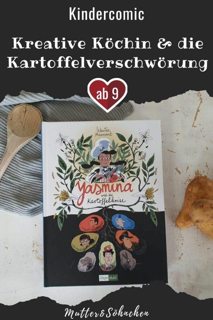 Yasmina hat eine besondere Leidenschaft: Sie liebt gesundes veganes Essen und ist eine sehr kreative Köchin und Bento-Boxen-Macherin. Auf dem Weg zur Schule pflückt sie täglich Kräuter, mopst aus fremden Gärten Obst oder bekommt aus dem Schrebergarten ihrer Freunde Cyril und Marco frisches Gemüse. Bis zu dem Tag, an dem deren Gemüsegarten platt gemacht und durch ein Feld mit genmanipuliertem Kartoffeln ersetzt wird. #umwelt #krimi #comic #kindercomic #kochen #ernärung #dystopie