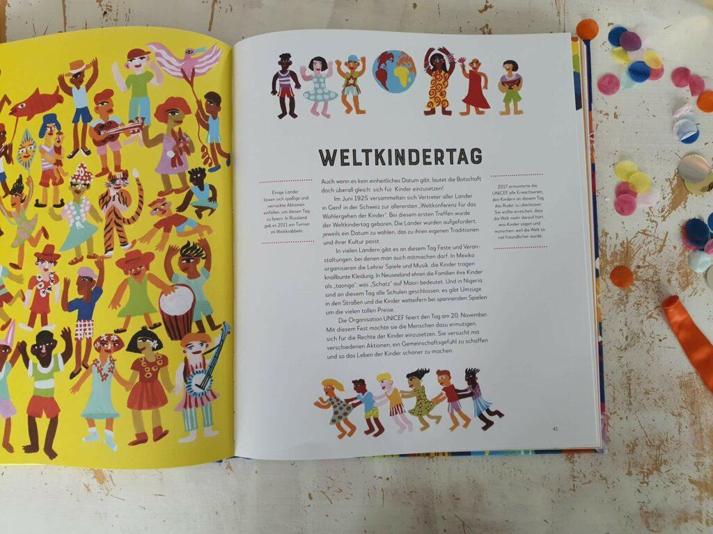 Warum suchen alle an Ostern nach bemalten Eiern und Schokohasen? Warum fasten viele Menschen im Monat Ramadan? Was passiert am Fest der Farben in Indien? 100 Feste, Festivals und Gedenkfeiern werden in diesem fantasievollen Sachbuch vorgestellt und in ihren Ursprüngen erklärt. #kinderbuch #illustration #lesen #vorlesen #feiern #religion #karneval #party #anlässe
