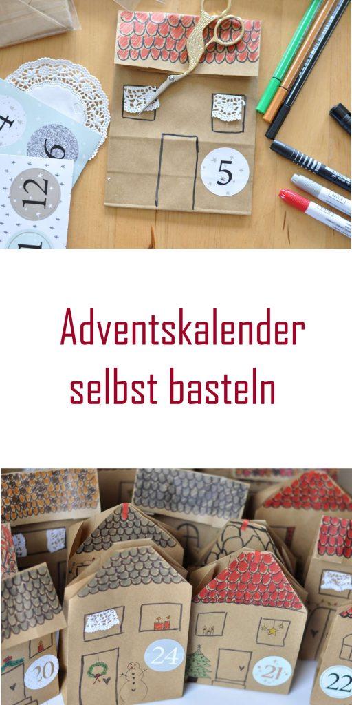Adventskalender selbst basteln aus Papiertüten, Häuschen Adventskalender, DIY Adventskalender, mehr auf Mutter&Söhnchen