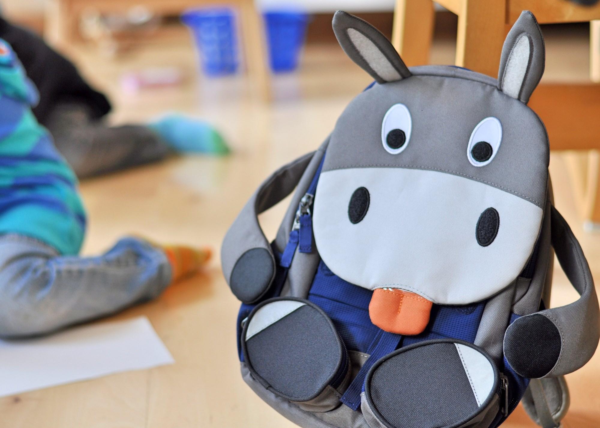 Große Freunde Kinderrucksack für den Kindergarten, Esel Rucksack, mehr zum groß werden und den passenden Rucksack auf dem Blog