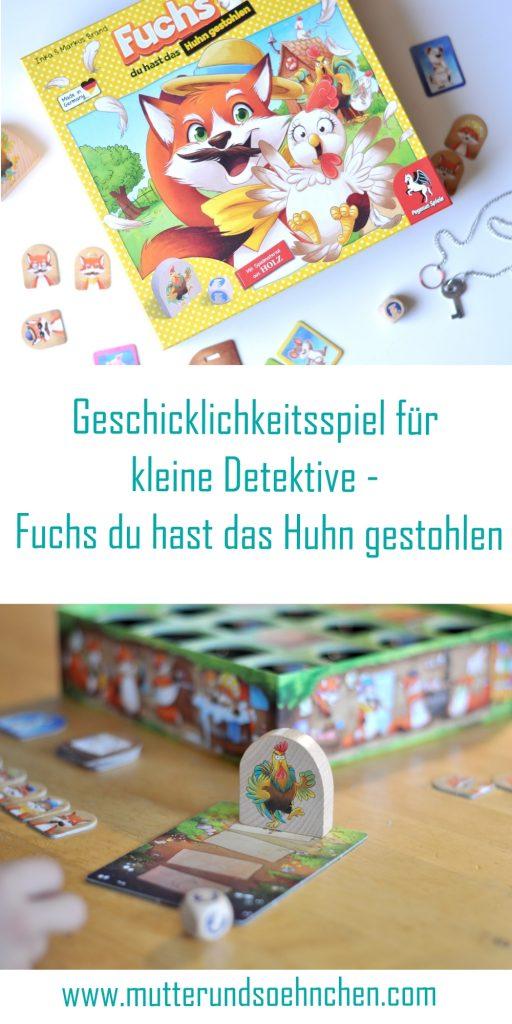Fuchs du hast das Huhn gestohlen - Geschicklichkeitsspiel für kleine Detektive ab 5 Jahren, Rezension auf Mutter&Söhnchen