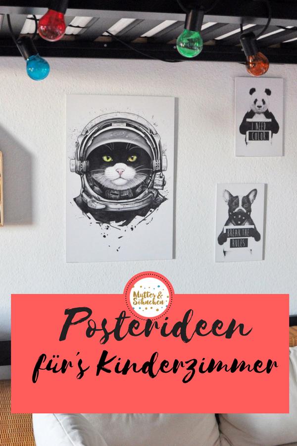 Vier Wandideen mit Tiermotiven - wir stylen unsere Wände mit einfachen Mitteln um #Werbung #Poster #Kinderzimmer #Wohnzimmer #Katze #Astronaut #BlackandWhite