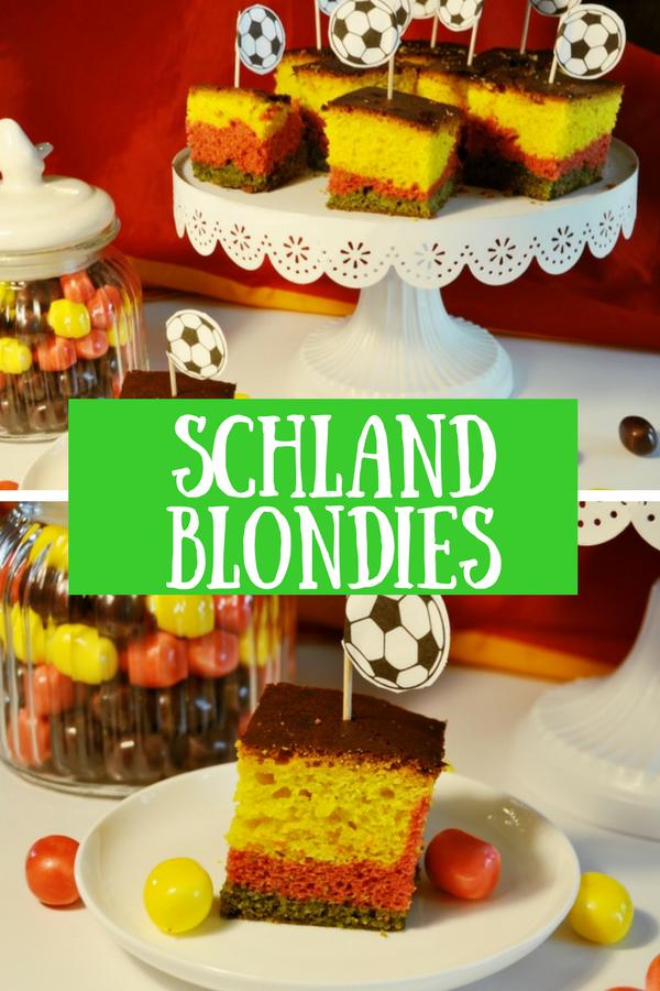 Blondies in Deutschland-Farben - Das Rezept für einen leckeren Fußball-Kuchen #fussball #fussballparty #wm #em #deutschland